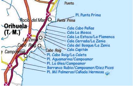 Mapa de Cabo Roig y del resto de Playas de Orihuela Costa