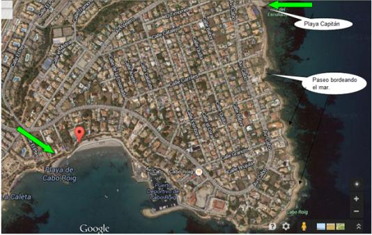 Paseo por el litoral desde Playa Cabo Roig y Playa Capitán