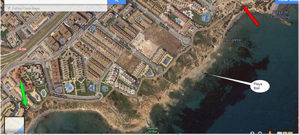 La playa fósil vista satélite