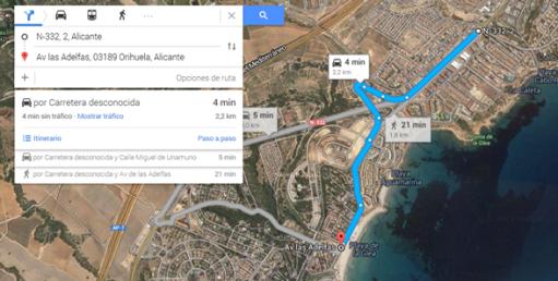 Como llegar de CAbo Roig a Playa La Glea