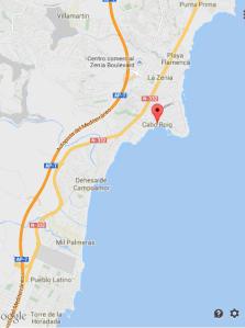 mapa del area Cabo Roig La Zenia Campoamor Punta Primar Mil Palmeras y Torre de la Horadada