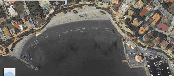 Playa Cabo Roig vista desde el satelite