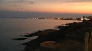 Playa Fósil al atardecer