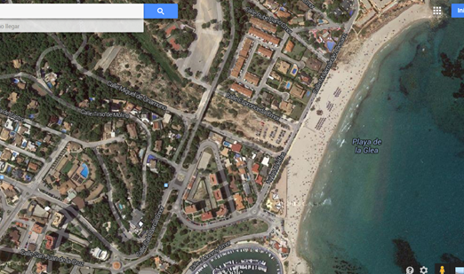 Vista desde el satélite de la Playa de la Glea de Campoamor