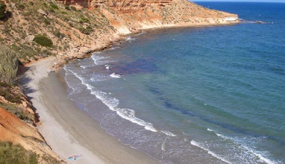Calas de aquamarina, la parte más cercana a la Punta de la Glea