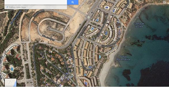 Vista satélite de las Calas de Aquamarina