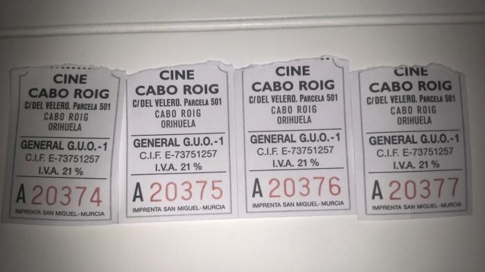 1 tickets del cine de verano en Cabo Roig